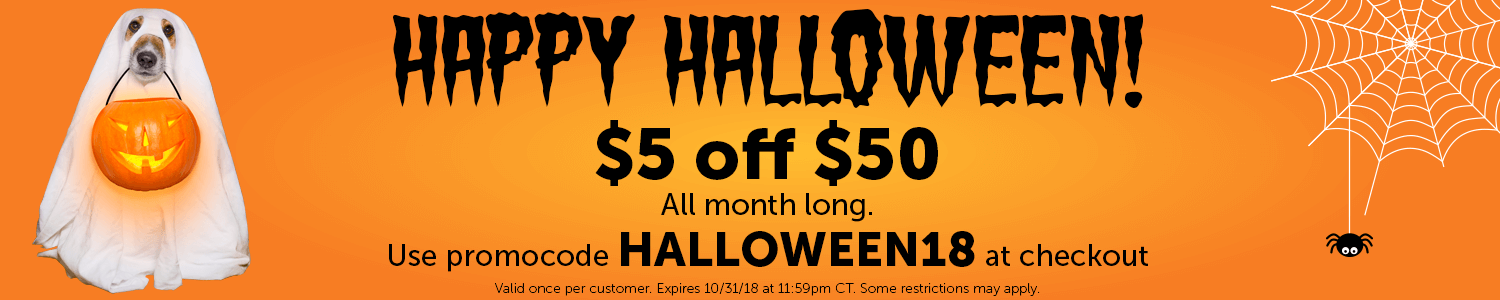 Happy Halloween! Save $5 off $50